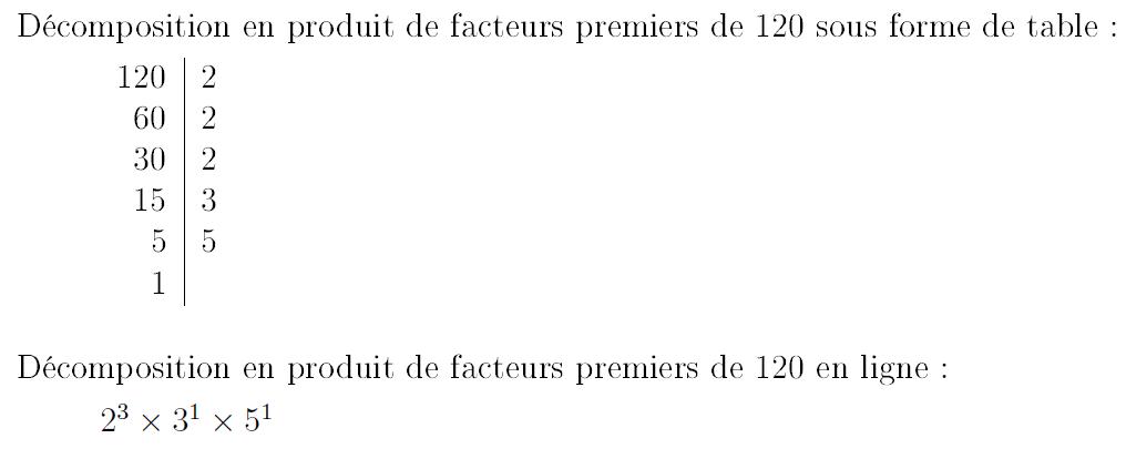 décomposition produit facteurs premiers pythontex